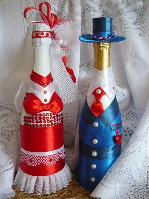оригинальное оформление бутылок декоративными ленточками