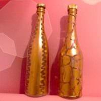 необычное декорирование бутылок для стиля квартиры фото