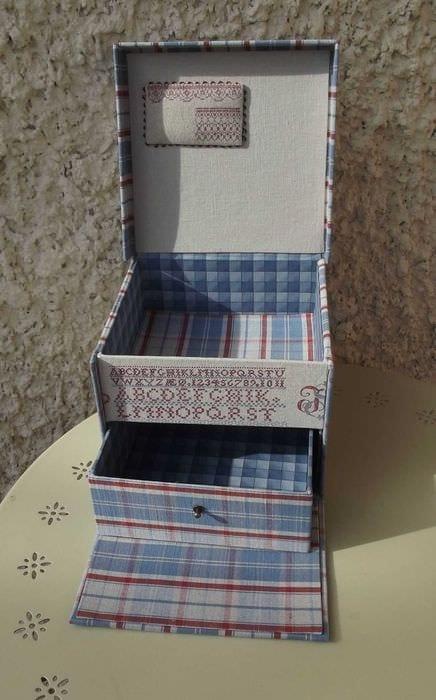 оригинальное декорирование коробок для хранения подручными материалами