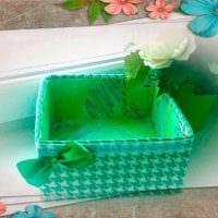 оригинальное декорирование картонных коробок подручными материалами фото