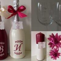 шикарное оформление бутылок шампанского декоративными ленточками фото