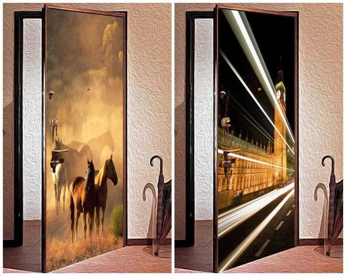 необычное оформление межкомнатных дверей подручными материалами