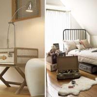 красивый декор спальни со старыми чемоданами картинка