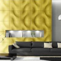 оригинальный дизайн гостиной со стеновыми панелями фото