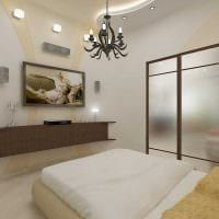 яркий интерьер спальной комнаты фото
