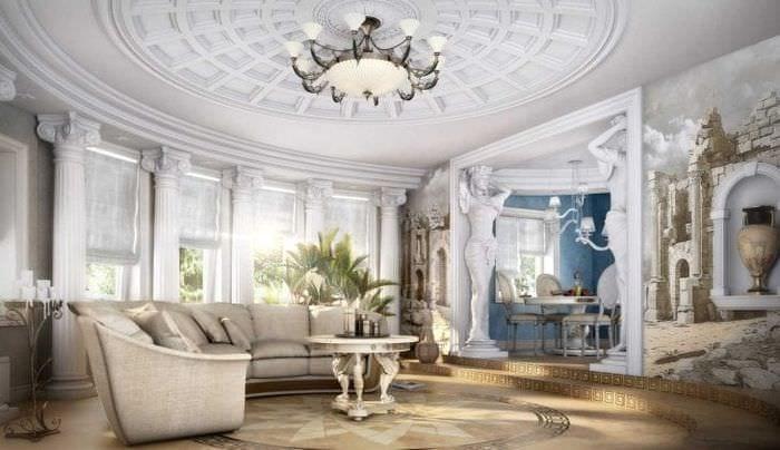 необычный дизайн квартиры в греческом стиле