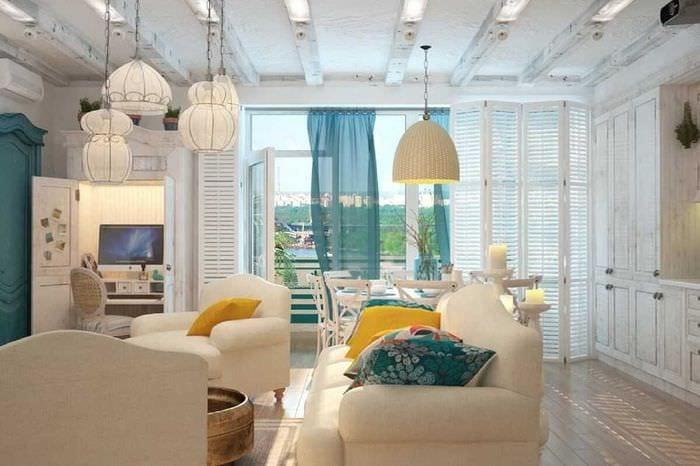 красивый интерьер спальни в средиземноморском стиле