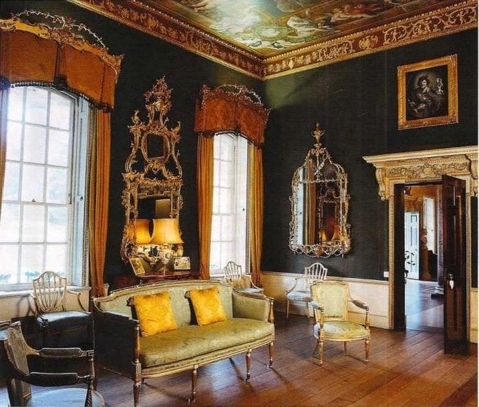 красивый интерьер спальни в викторианском стиле