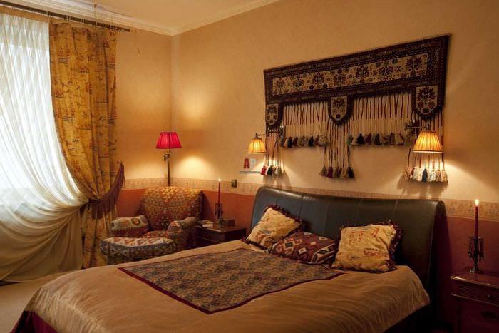 необычный стиль спальни в восточном стиле