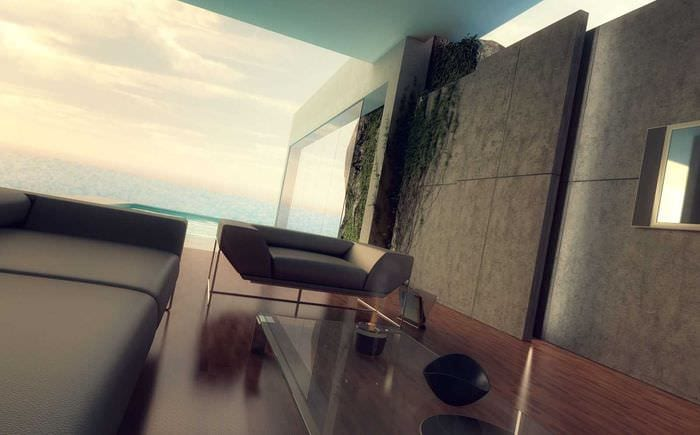 светлый гибкий камень в интерьере гостиной