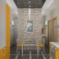 необычный гибкий камень в декоре гостиной картинка