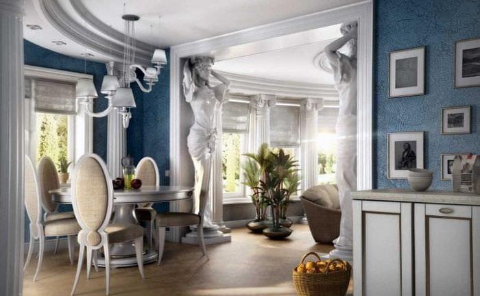 яркий дизайн дома в греческом стиле