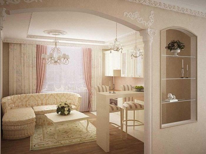 необычный интерьер гостиной в греческом стиле