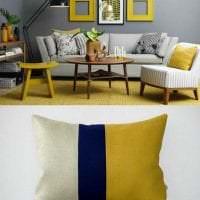 необычный дизайн спальни в горчичном цвете картинка