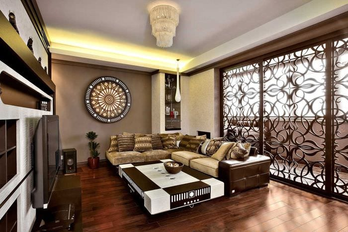 необычный фасад комнаты в восточном стиле