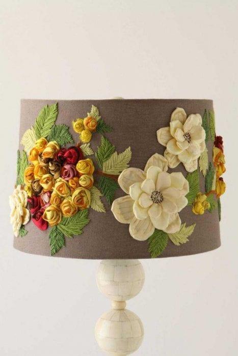 яркое декорирование абажура лампы подручными материалами