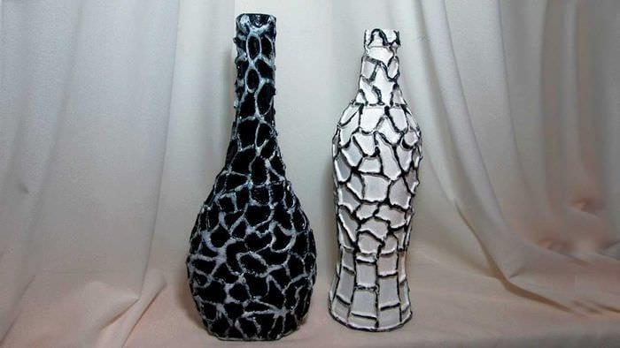 красивое украшение бутылок для дизайна квартиры