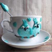 необычное украшение кружки животными из полимерной глины в домашних условиях фото