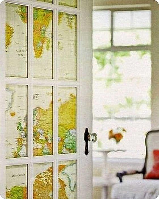 красивое украшение межкомнатных дверей подручными материалами