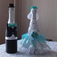 необычное оформление бутылок шампанского декоративными ленточками фото