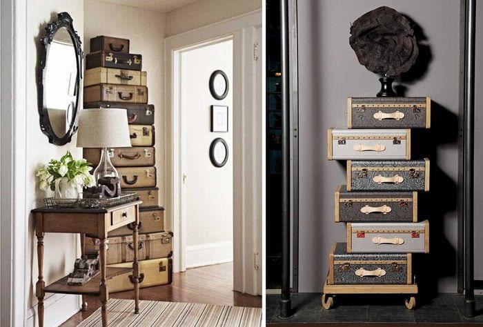 красивый дизайн квартиры со старыми чемоданами