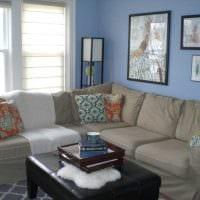красивый декор комнаты в голубом цвете картинка
