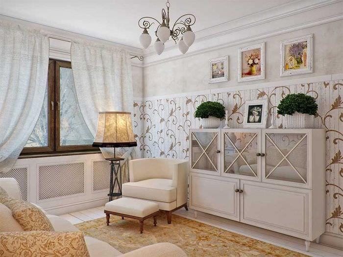 красивый интерьер гостиной в стиле прованс