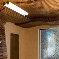 оригинальный дизайн гостиной со спилами дерева картинка