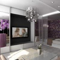 светлый интерьер спальни и гостиной в одной комнате фото