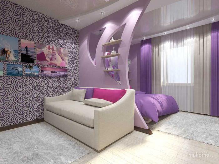 оригинальный дизайн спальни и гостиной в одной комнате