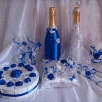 красивое декорирование бутылок шампанского разноцветными ленточками фото