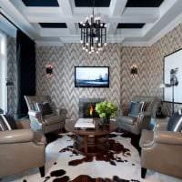 сочетание красивых обоев в интерьере гостиной картинка