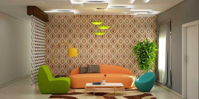 комбинирование красивых обоев в декоре гостиной
