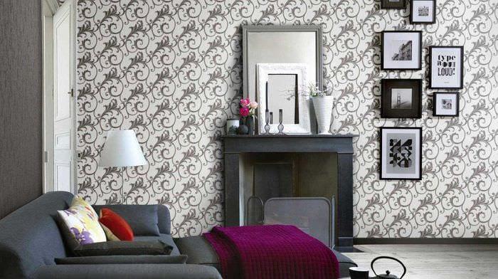 сочетание красивых обоев в дизайне гостиной