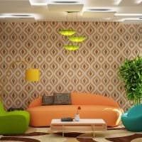 комбинирование красивых обоев в дизайне гостиной фото