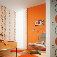 сочетание яркого оранжевого в стиле кухни с другими цветами картинка