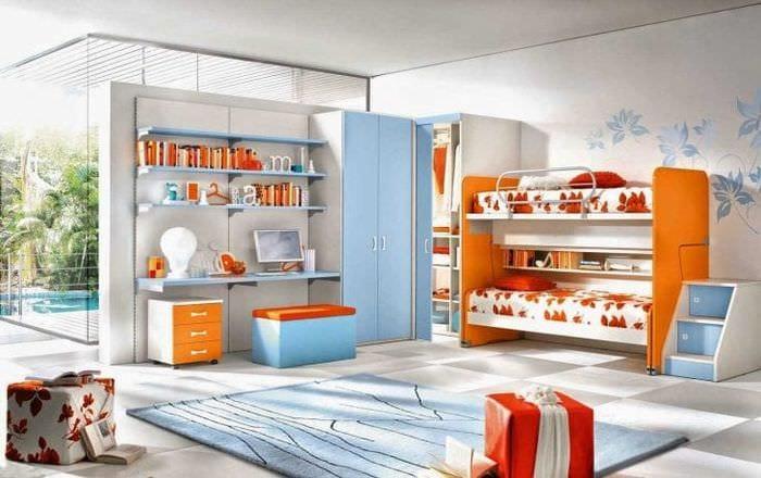 сочетание темного оранжевого в стиле комнаты с другими цветами