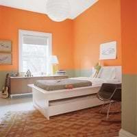 сочетание светлого оранжевого в стиле спальни с другими цветами фото
