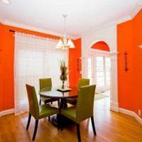 сочетание светлого оранжевого в декоре кухни с другими цветами фото