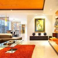 сочетание яркого оранжевого в стиле спальни с другими цветами картинка