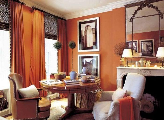 сочетание темного оранжевого в интерьере комнаты с другими цветами