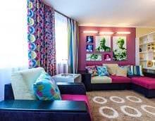 комбинирование ярких цветов в дизайне гостиной фото