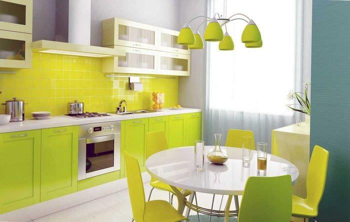 сочетание ярких оттенков в декоре кухни