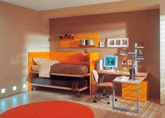 сочетание яркого оранжевого в стиле гостиной с другими цветами