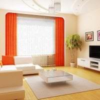 сочетание темного оранжевого в интерьере комнаты с другими цветами картинка