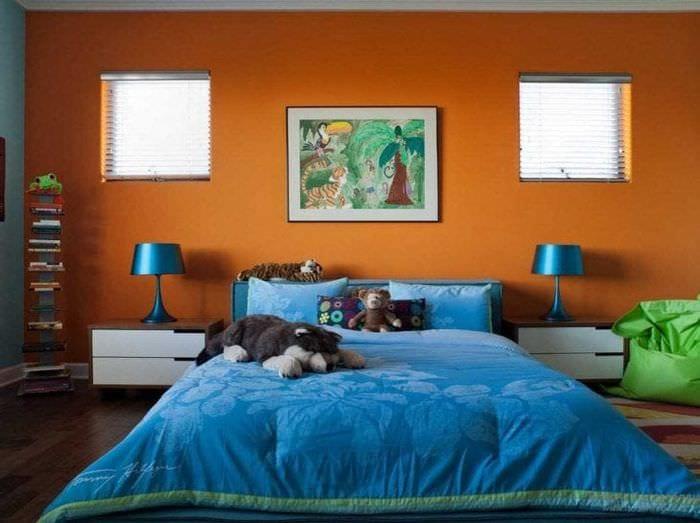 сочетание светлого оранжевого в декоре дома с другими цветами