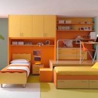сочетание яркого оранжевого в дизайне кухни с другими цветами фото