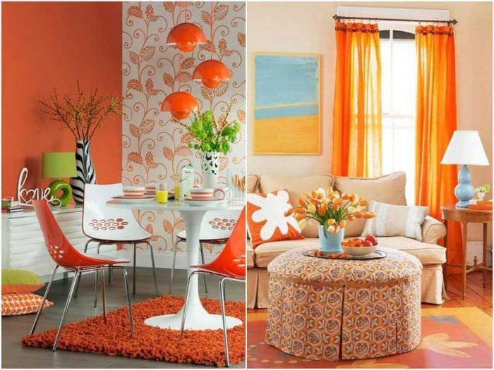 сочетание яркого оранжевого в декоре дома с другими цветами