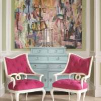 сочетание темного розового в стиле гостиной с другими цветами фото
