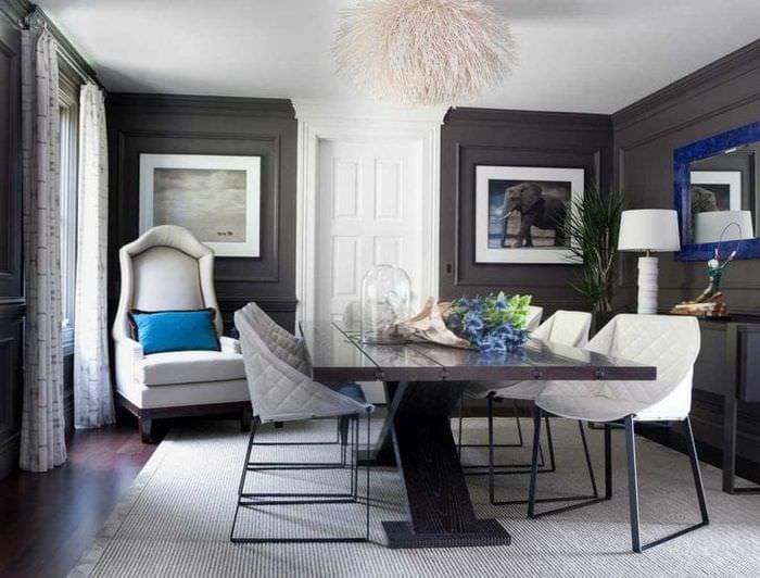 сочетание темного серого цвета в декоре квартиры